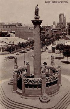 Monument a Mossen Jacint Verdaguer. Av. Diagonal-Passeig de Sant Joan. ~1925.  Sagrada familia al fons  Publicat per Giacomo Alessandro