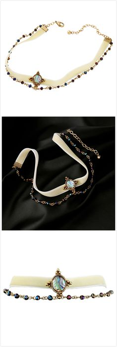 Free Shipping Colorful Gemstone Velvet Layered Wide Choker Necklace For Women