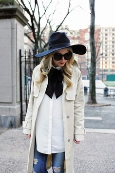White blouse and trench