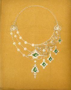 René Lalique, Dessin asymétrique, émeraudes, © Lalique SA