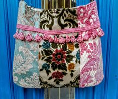 Pretty floral velvet in blues and pink crossbody bag