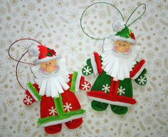 Set of 2 Christmas tree toy Santa Claus Santa by QuillingLife