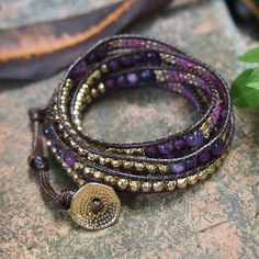 Purple mix Wrap bracelet with Seed beaded, Boho Wrap Bracelet