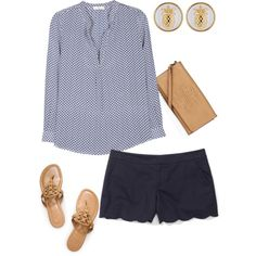 A fashion look from July 2013 featuring Joie blouses, Club Monaco shorts and Tory Burch sandals. Browse and shop related looks.