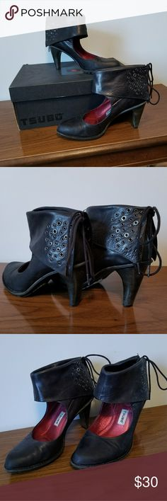 Tsubo Deba Cuffed Boots Leather cuffed boots with grommet detail and lace up back can be worn up or folded over. By Tsubo, with red contrast insole, thick stable heel, and non-slip sole. Size 8, in great preloved condition. Tsubo Shoes Ankle Boots & Booties