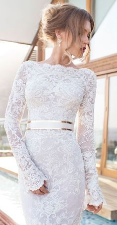 Elegant Julie Vino long sleeve wedding dress | http://mysweetengagement.com
