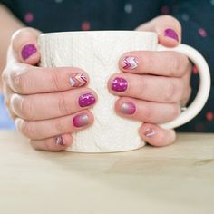 Once Upon a Time with Icy Peony Polka and Berry Sparkler. Jamberry wraps | nail art | manicure | Spring Summer Catalog 2015