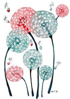 Watercolor Art Print Dandelion Dreams Floral Watercolour Painting Original Artwork