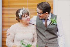 This vintage hair fascinator looks great on this short haired bride - photographed by Benjamin Stuart Photography