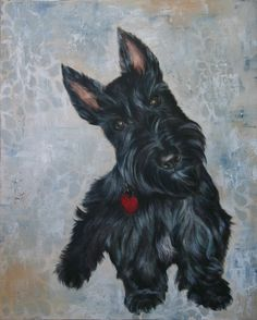 Kristin Wolfson: Painted Pet Portrait of Scottish Terrier; Mixed media; graphite, acrylic and oil paint