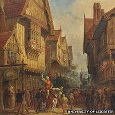 Richard III at the Blue Boar Inn by John Fulleylove. Richard III left Leicester on 21 August 1485 and died in the battle the following day.