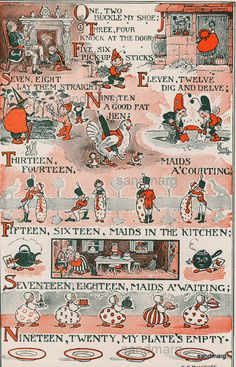 Original Antique One Two Buckle My Shoe Childrens Nursery Rhyme Illustration