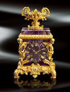 Amethyst Hernani clock with 24k gold plated bronze puttos