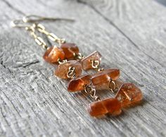 Sunstone and Gold Chain Earrings