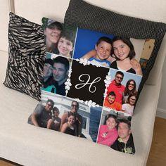 Personalized Monogram Photo Collage Throw Pillow