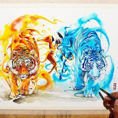 Spirits of Tigers. Vibrant Fantasy Watercolor Animal Paintings. By Luqman Reza Mulyono.