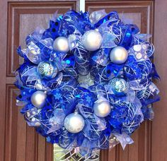 Blue Silver White Christmas Wreath, Blue and White Deco Mesh Wreath, Holiday Xmas Wreath, Royal Blue, Blue Christmas Decor, winter wreath