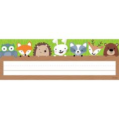 This Woodland Friends name plate features cute woodland creatures (owl fox hedgehog rabbit raccoon deer and bear) peeking out from behind a log. Name plates are 9 x 3 36 name plates per package Woodland Animals Theme, Woodland Creatures, Forest Animals, Classroom Displays, Classroom Themes, Classroom Labels, Classroom Resources, Teacher Resources, Forest Classroom