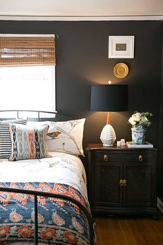 eclectic bedroom with dark walls. Wall color Sherwin Williams in urban bronze. Dream Bedroom, Home Bedroom, Bedroom Decor, Master Bedroom, Bedroom Ideas, Home Design, Interior Design, Design Ideas, Estilo Interior