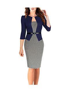 Easytrade Women's Elegant Geometric Belted Wear to Work Business Bodycon Dress Size XL