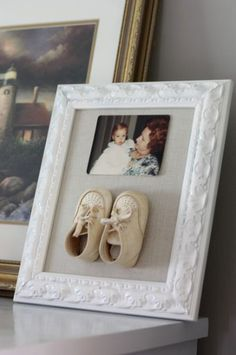 This is such a cute idea. I could do this with my husband and my baby shoes.