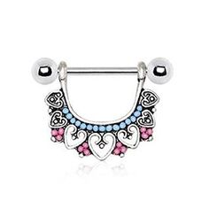 Nipple ring with multiple beads. Nipple ring is decorated with hearts and Pink & Light Blue plastic beads Jewelry is partially plated in Black for an antiqu