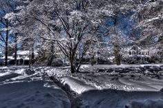 High Dynamic Range photo of the snow just outside my front door. Copyright VMLincoln2014.