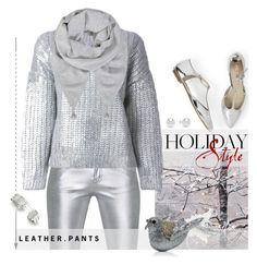 """""""Metallic Trousers."""" by s-elle ❤ liked on Polyvore featuring Yves Saint Laurent, DKNY, Mint Velvet, Bloomingdale's, Kevin Jewelers, metallic, leatherpants and holidaystyle"""