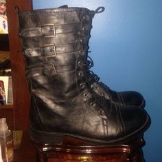 NWOT Black lace up combat boots Black lace up combat boots that have never been worn. Reasonable offers considered  Shoes Lace Up Boots