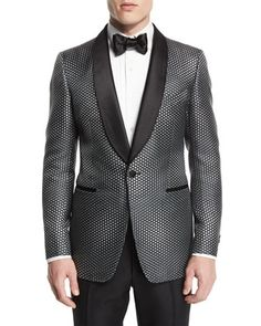 Buckley-Base Textured-Mesh Tuxedo Jacket, Gray/Black by TOM FORD at Neiman Marcus.