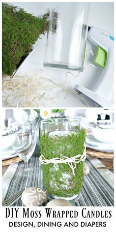 DIY Moss Wrapped Candles - Easy way to add a little spring and Easter decor to your table! Grab a few dollar store vases, moss and raffia!