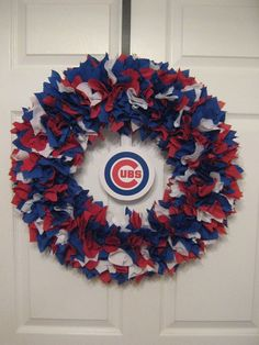 MLB Chicago Cubs Fabric Wreath by burt7 on Etsy, $46.00
