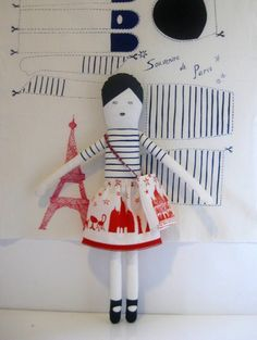 'I Love Paris' doll kit, by Miko Design, $18.00. Need to make this for my little sister Molly!