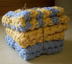Cotton Crocheted Washcloth in French Country by roadstoeverywhere, $7.50