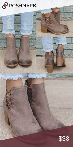 """Taupe suede almond toe western ankle bootie Get ready for cooler temps with your favorite skinnies and our Granada Booties! They are a pair of faux suede, almond toe, distressed, western style slip on booties with a cut out ankle and strappy accent with a block heel. Heel height: 2.5"""" (approx). Shaft length: 6""""(including heels), opening circumference: 9"""" Shoes Ankle Boots & Booties"""