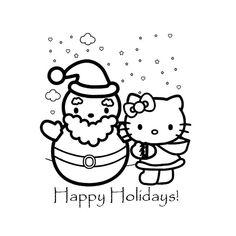 Coloriage de Noel de Hello Kitty