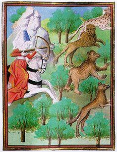 Hunter Using Crossbow    Giovanni Boccaccio, De claris mulieribus, MS. 381, f. 62, French, second half of fifteenth century, The Pierpont Morgan Library, New York