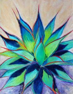 Anna Lisa Leal - Art in Progress: Warm Blue Glow Cactus Painting, Watercolor Cactus, Cactus Art, Watercolor Paintings, Pastel Paintings, Cactus Plants, Watercolors, Guache, Southwest Art