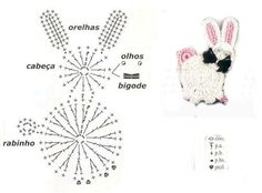 Mesmerizing Crochet an Amigurumi Rabbit Ideas. Lovely Crochet an Amigurumi Rabbit Ideas. Motifs D'appliques, Crochet Motifs, Crochet Diagram, Crochet Chart, Thread Crochet, Crochet Animal Patterns, Applique Patterns, Crochet Animals, Patron Crochet