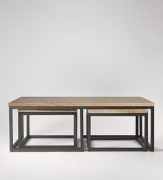 Sullivan Wooden Industrial Coffee Table Set | Swoon Editions