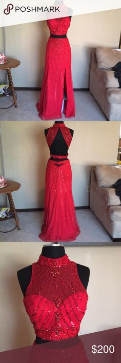 Prom Dress Beautiful prom dress! Worn once! 2 piece with sequins. (Few sequins missing) Sean Collection Dresses Prom