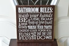 IN STOCK READY TO SHIP in Espresso! Please feel free to contact me with any questions. More Bathroom Rules signs: https://www.etsy.com/shop/CreativeTouchWood/search?search_query=bathroom+rules&order=date_desc&view_type=gallery&ref=shop_search   wooden sign measures approx. 12 x 12 x 3/4. All my signs are handmade & hand painted by me, so no 2 signs are exactly alike. NO vinyl or prints!   *If you would like a different color for the sign and/or lettering, please leave me a message with your…