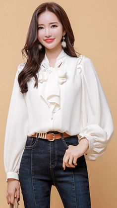 bishop sleves yes,ditch the bow K Fashion, Hijab Fashion, Fashion Dresses, Iranian Women Fashion, Korean Fashion, Stylish Work Outfits, Casual Outfits, Blouse Styles, Blouse Designs