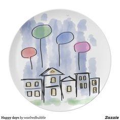 Happy days melamine plate