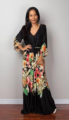 Maxi dress, floral dress long sleeve dress summer dress by nuichan