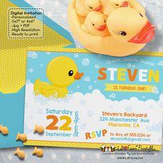 Rubber Ducky birthday invitation Yellow Rubber duck Birthday invitation Printable blue yellow orange duck party invitations watercolors duck Photo invite