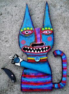 """Got Mouse?"" Outsider Folk Art Kitty Cat by Tracey Ann Finley"