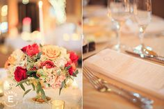 gold decor, hydrangea, red flowers #roses #fleurtaciousdesigns - Elario Photography