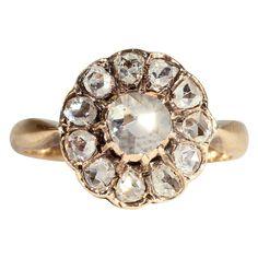 Fabulous Victorian Rose Cut Diamond Cluster Ring, open backed in 18 karat gold.