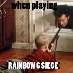 Share with a gamer! Funny gaming humor memes, rainbow 6 six! Tom Clancy's Rainbow Six, Rainbow 6 Seige, Rainbow Six Siege Memes, Gamer Humor, Funny Gaming Memes, Funny Humor, Video Game Memes, Video Games Funny, Funny Games